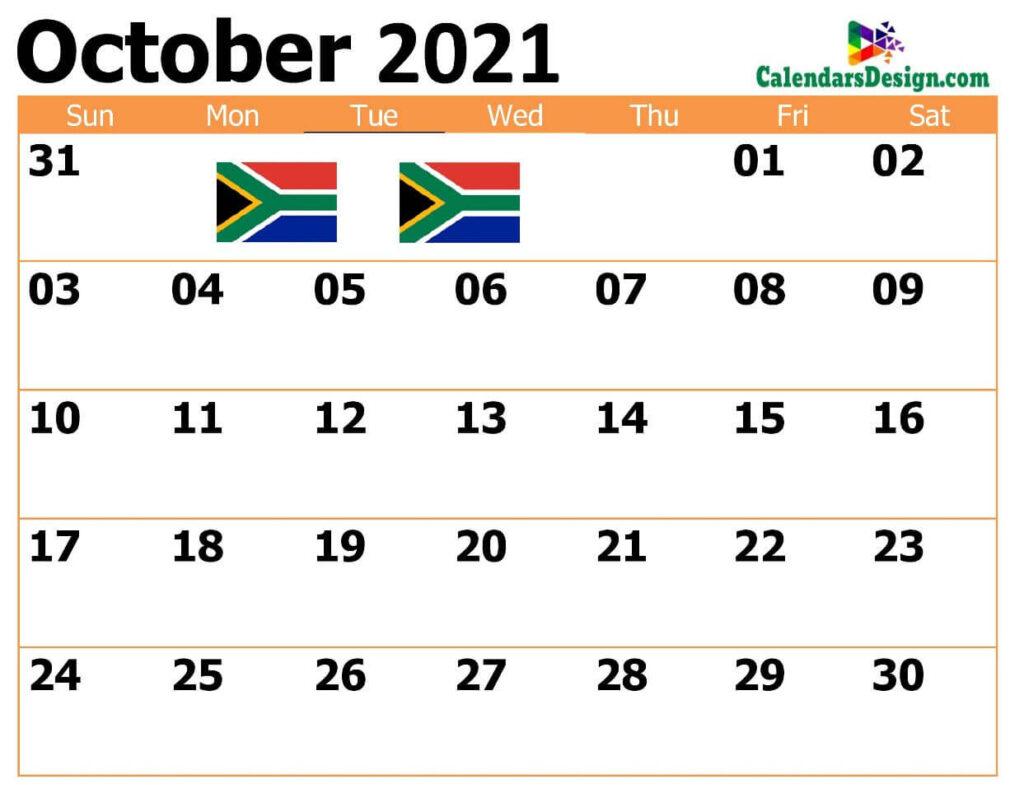Oct South Africa 2021 Calendar