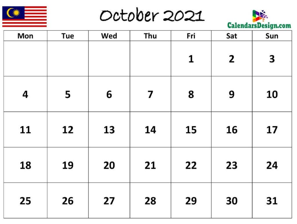 October 2021 Calendar Malaysia