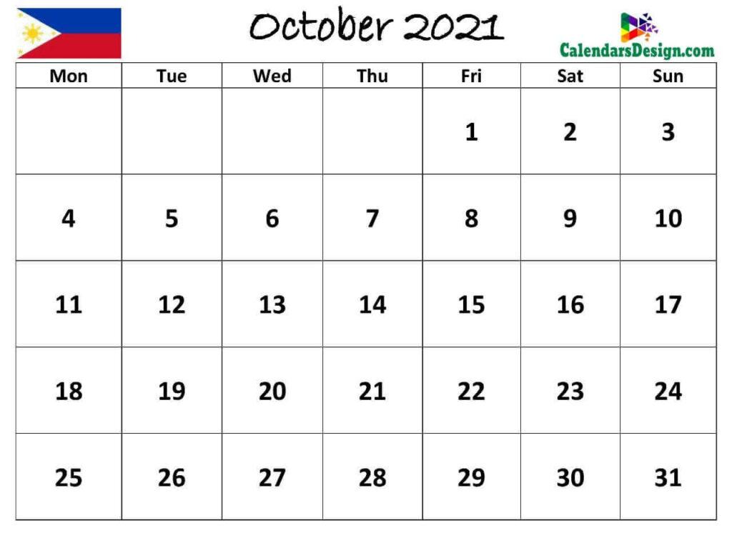 October 2021 Calendar Philippines