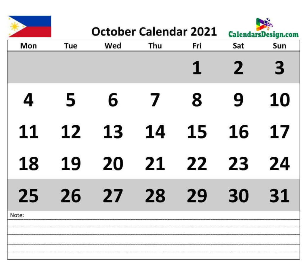 October 2021 Calendar Philippines with Notes