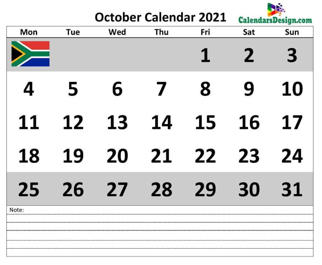 October 2021 Calendar South Africa with Notes