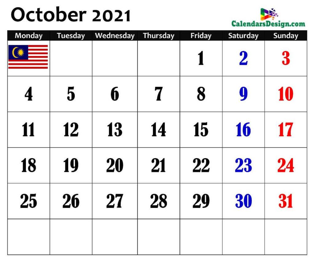 October 2021 Malaysia calendar