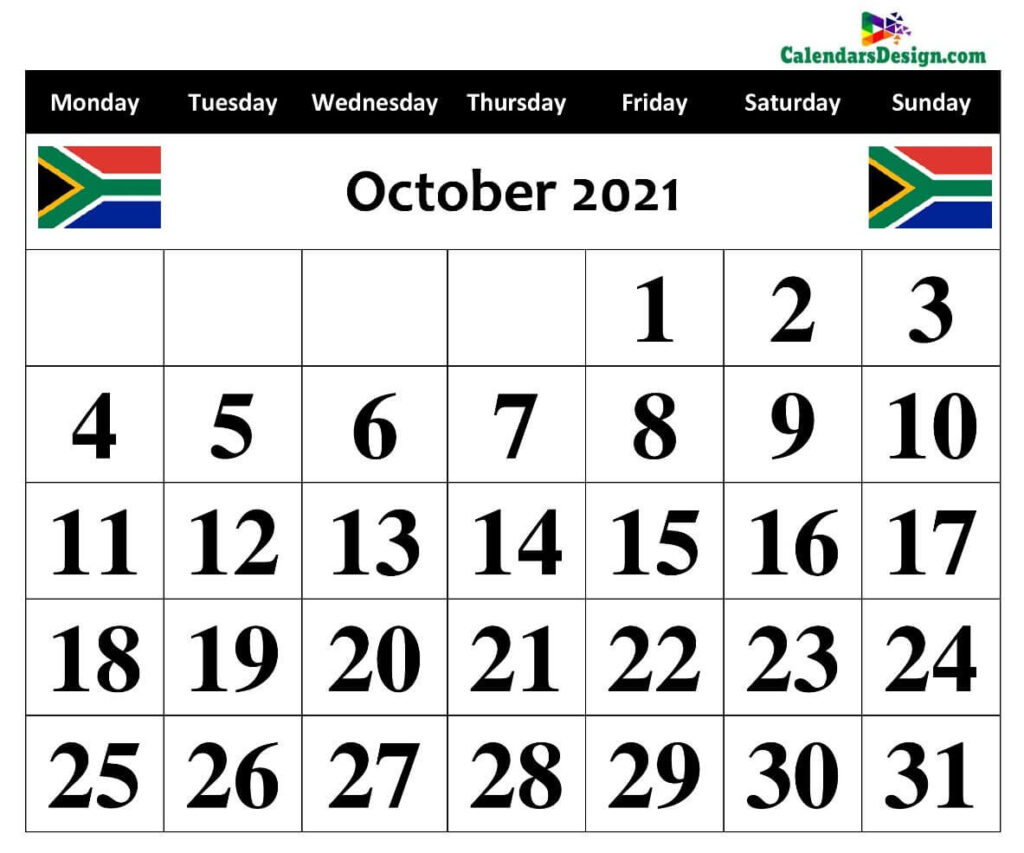October 2021 South Africa calendar