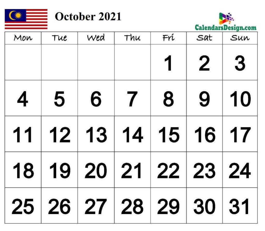October Calendar 2021 Malaysia