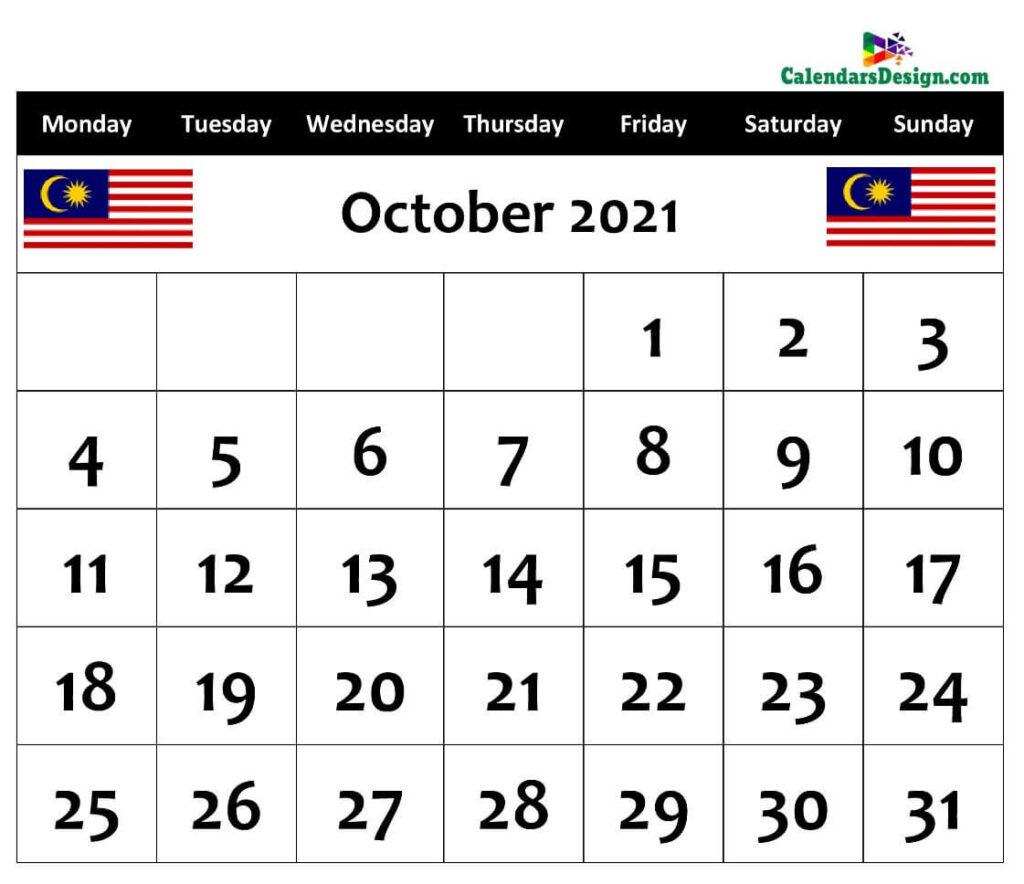 October Calendar 2021 Malaysia with Holidays