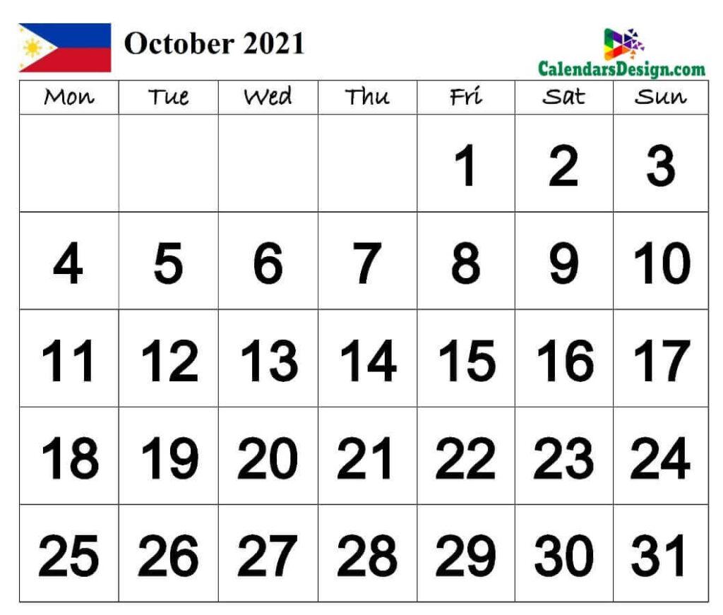 October Calendar 2021 Philippines