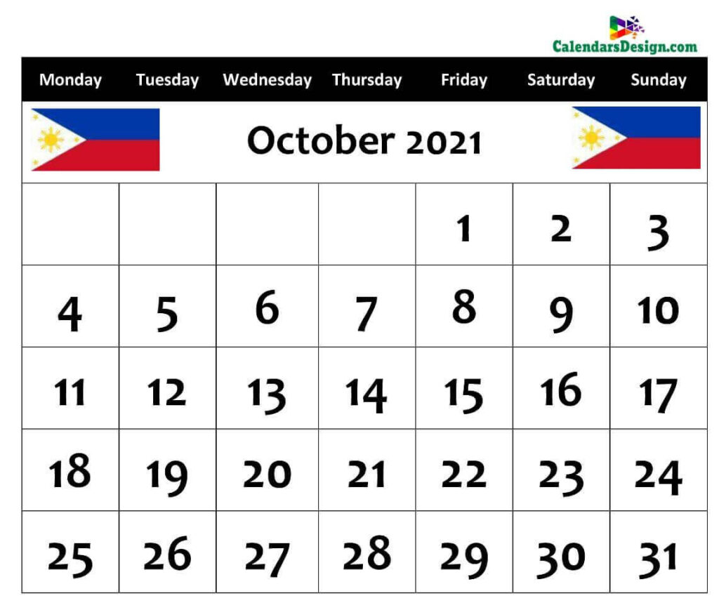 October Calendar 2021 Philippines with Holidays