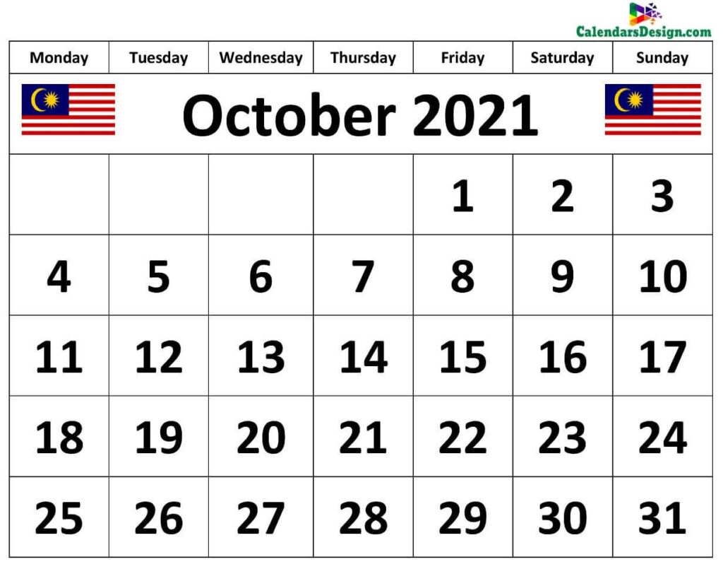 October Malaysia Calendar 2021