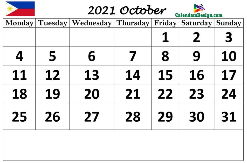 Philippines October 2021 calendar