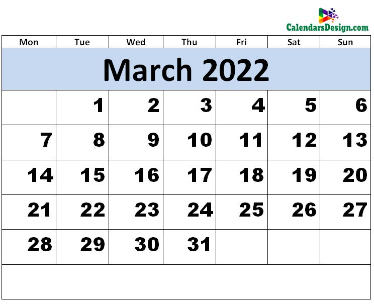 Print March 2022 calendar for free