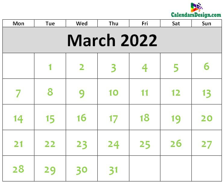 Printable Blank 2022 March Calendar Excel