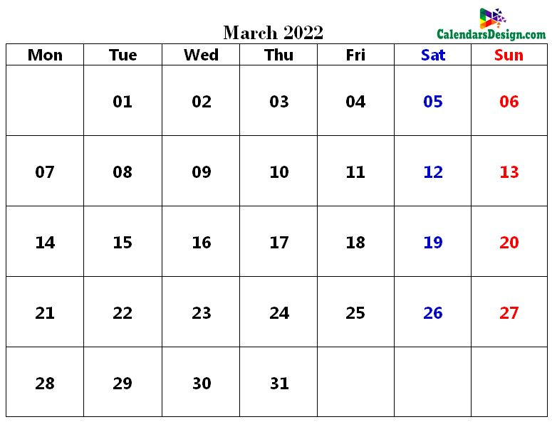 Printable Calendar for March 2022 PDF
