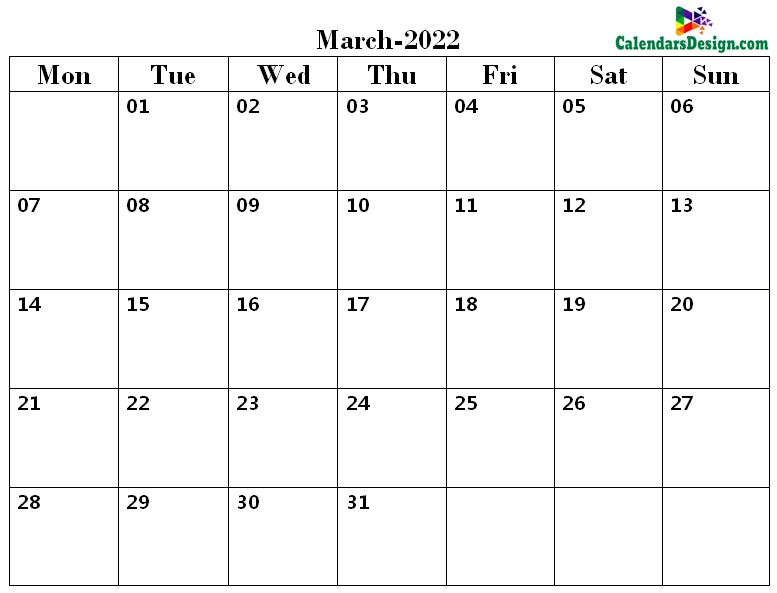 Printable Calendar for March 2022 Page