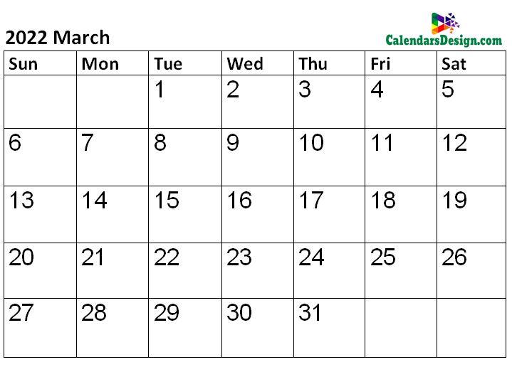 Printable Calendar for March 2022 Templates