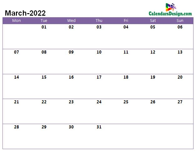 Printable Calendar for March 2022 Word