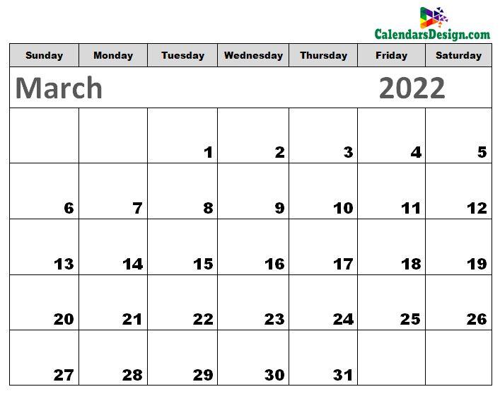 Printable Calendar for March 2022