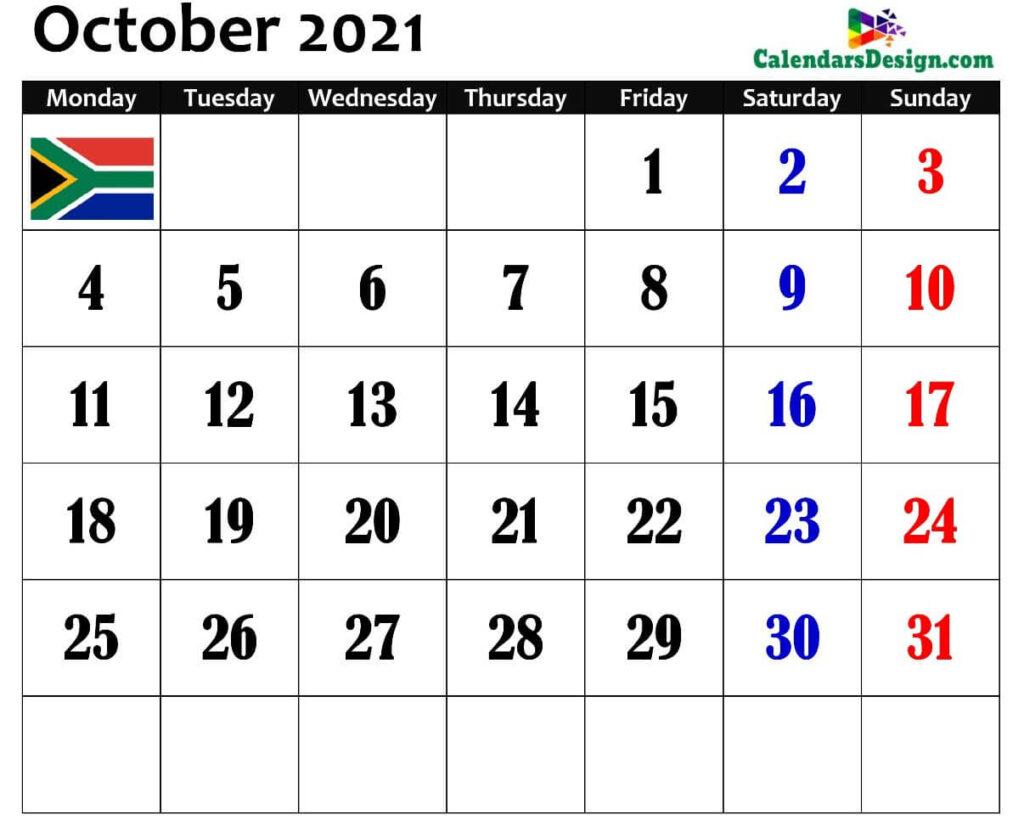 South Africa October 2021 Calendar