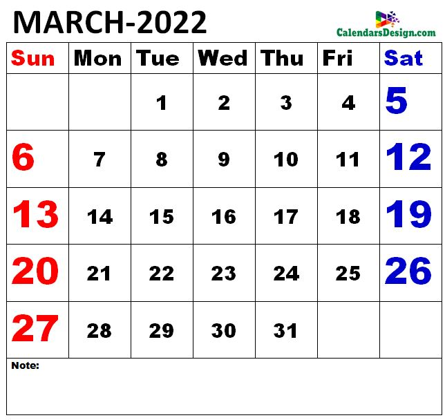 Vertex March Calendar 2022 Printable