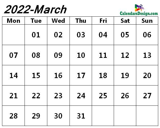 blank Mar 2022 calendar with notes