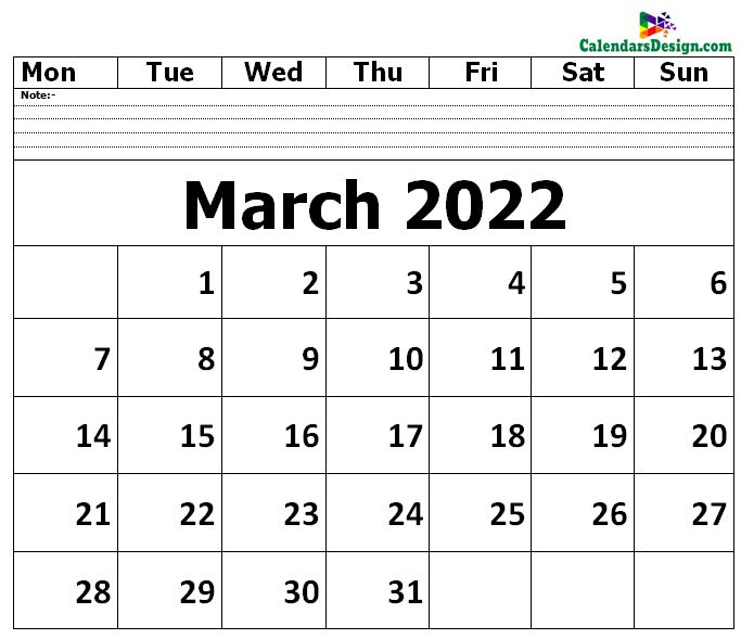 blank calendar for March month