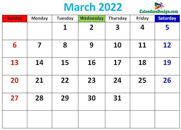 cute March 2022 calendars