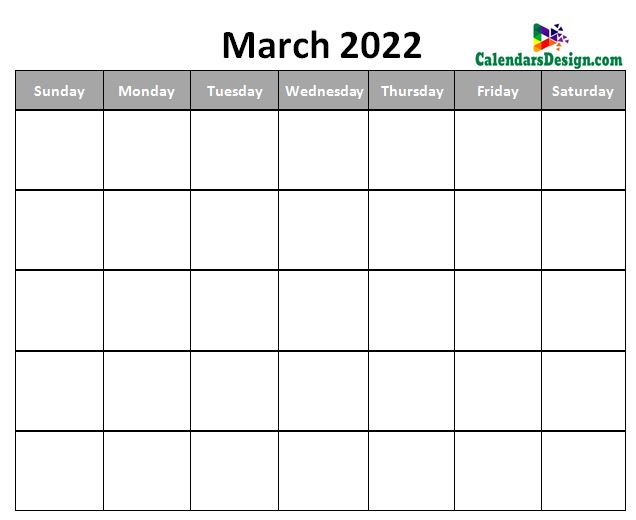monthly March 2022 blank calendar