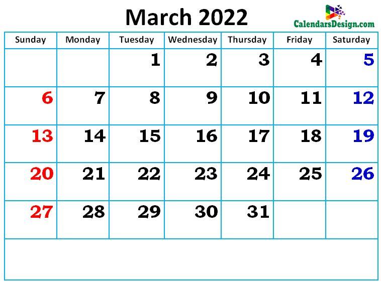 new cute March month calendar designs