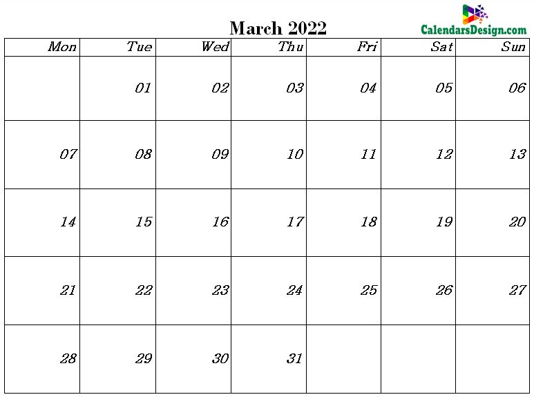 pdf calendar for March month