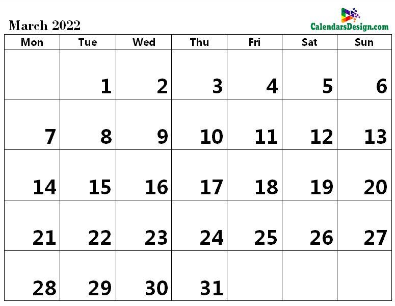 print March 2022 calendar in pdf