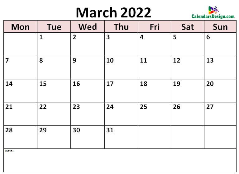 print March calendar 2022