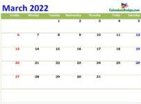 print cute Mar 2022 calendar