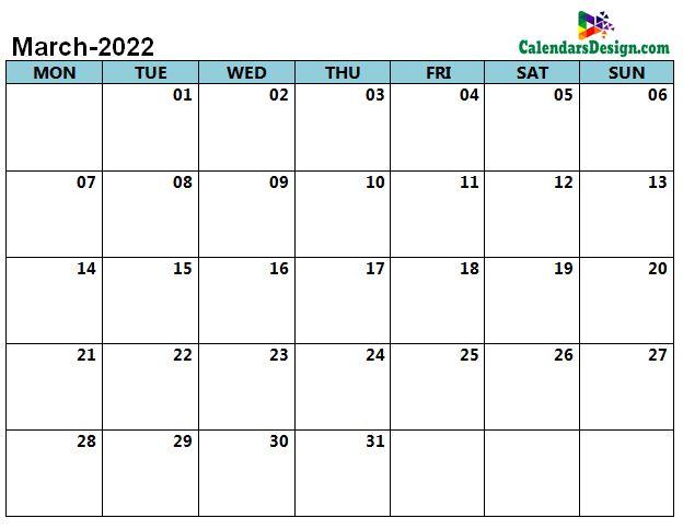 word calendar March 2022