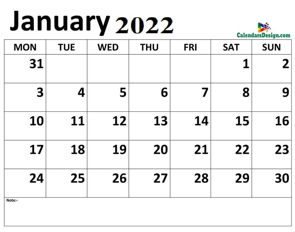 2022 January Calendar