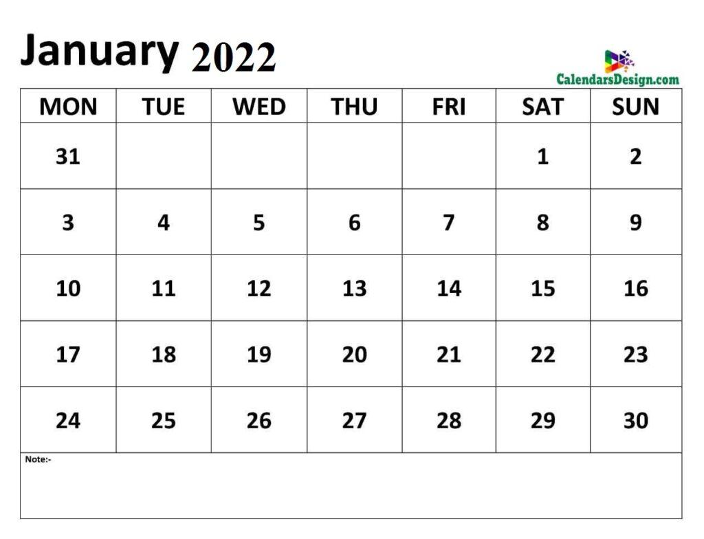 Calendar of January 2022