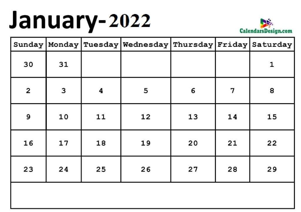 January 2022 calendar Download