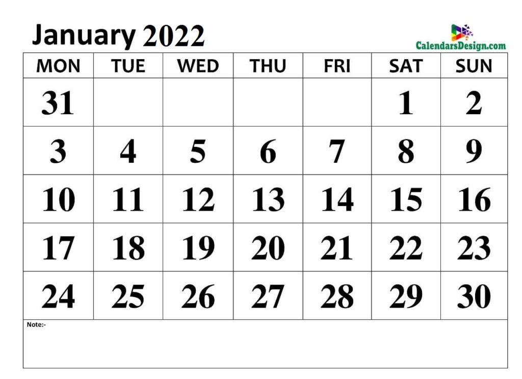 January 2022 calendar img