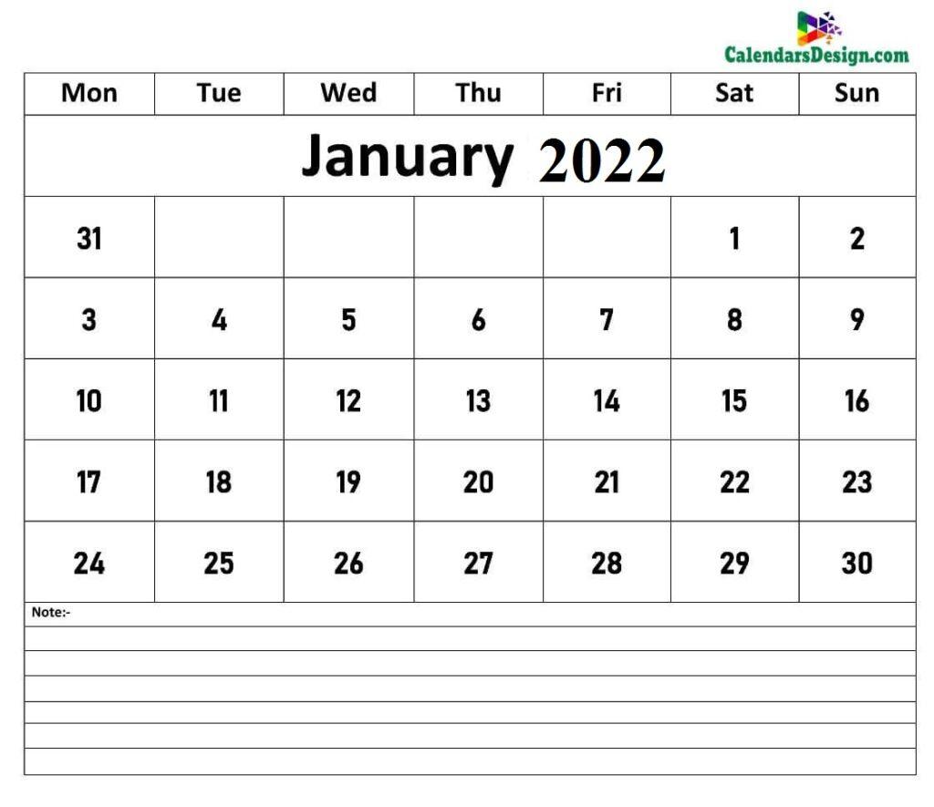January Calendar 2022