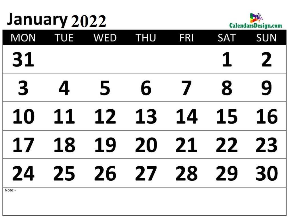 Monthly January 2022 calendar free